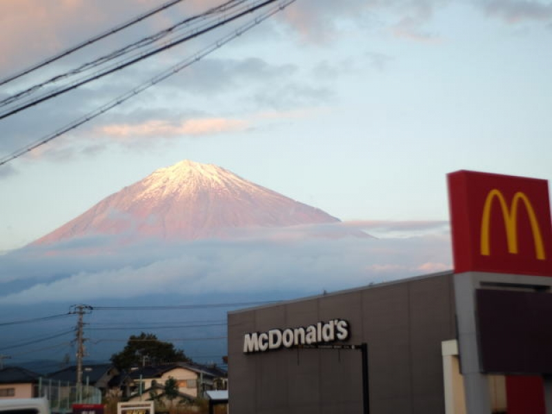 Mt. Fuji (only the upper part of it) as seen from the heart of Fujinomiya City