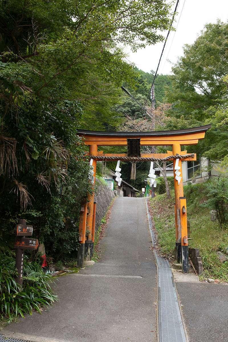 A torii gate to Mt. Atago-yama near Kiyotaki