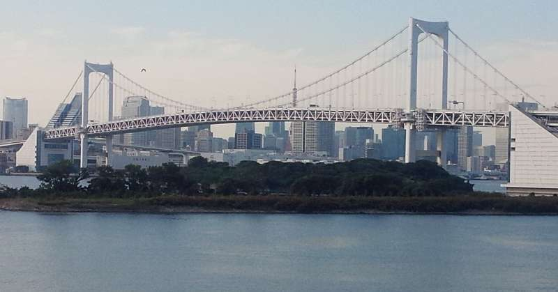 Picturesque view of Tokyo Bay under the beautiful Rainbow Bridge from Odaiba.