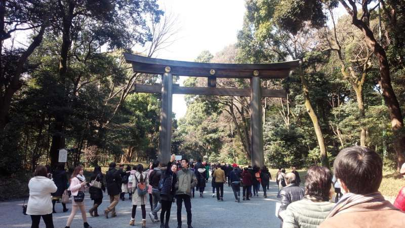 Meiji-jingu Shrine gate. The most popular power spot in Tokyo dedicated to the Emperor Meiji attracting over three million worshipers in the New Year holidays.