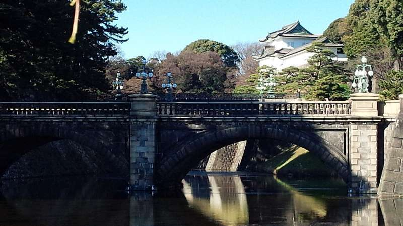 prestigeous and beautiful Double Bridges with the white tower at Imperial Palace plaza.