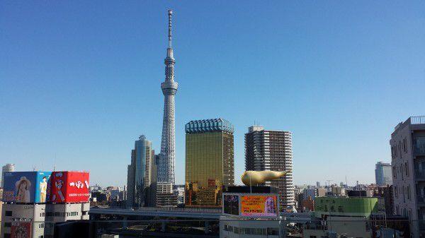 Tokyo sky tree and Asahi headquarters in Asakusa Area.