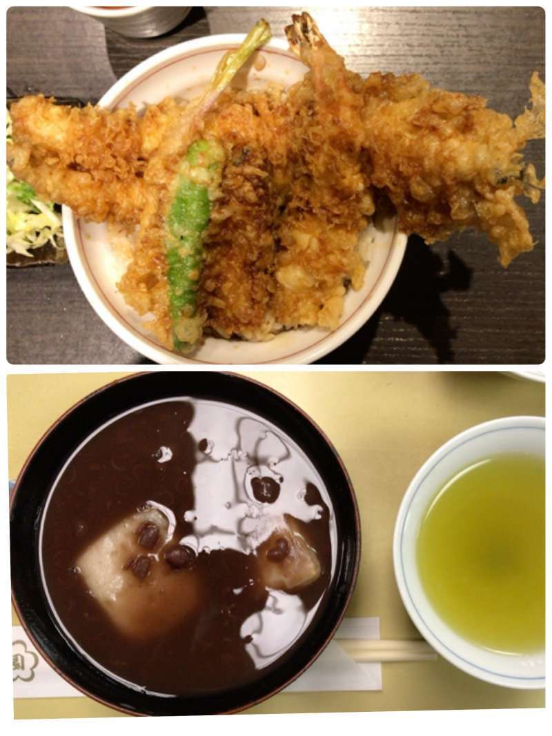 6. Many long-established restaurants are in Asakusa. One of the most popular dishes here is Tendon (a bowl rice topped with pieces of tempura). You can also enjoy Japanese sweets at the traditional Japanese cafe.
