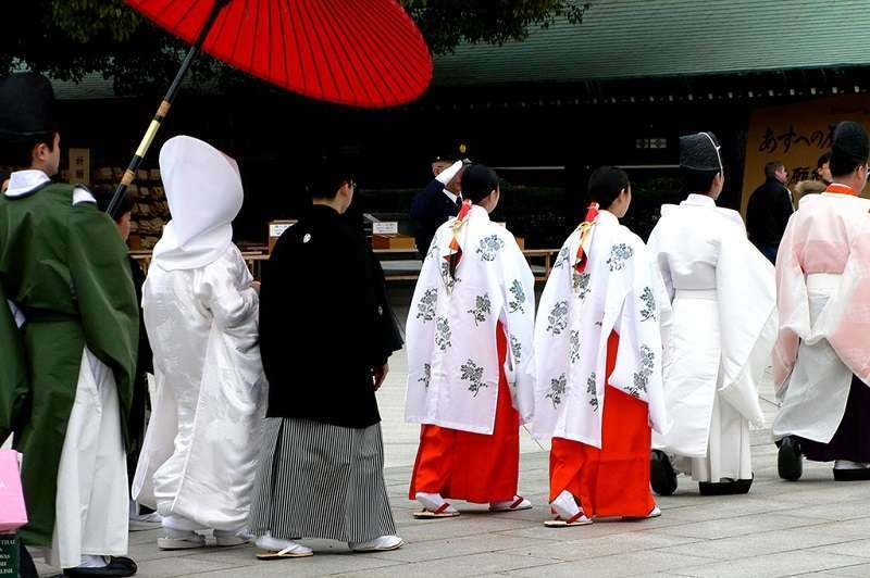 17. Shrines sometimes serve wedding ceremonies. My  guests and I were lucky enough to see the wedding procession at Meiji-jingu Shrine.