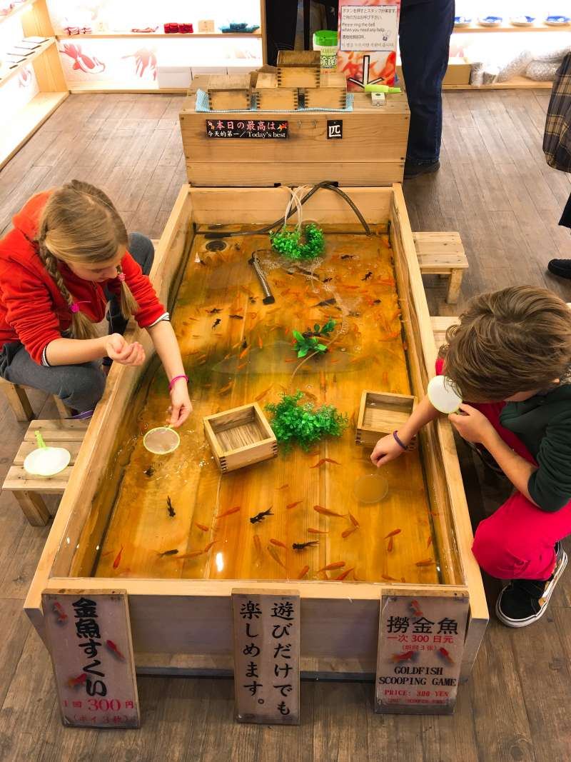 Kingyo-skui, goldfish scooping, is a special attraction of summer festival in Japan, but here in Asakusa you can enjoy it all the year round. My adorable guests caught the fish❣️
