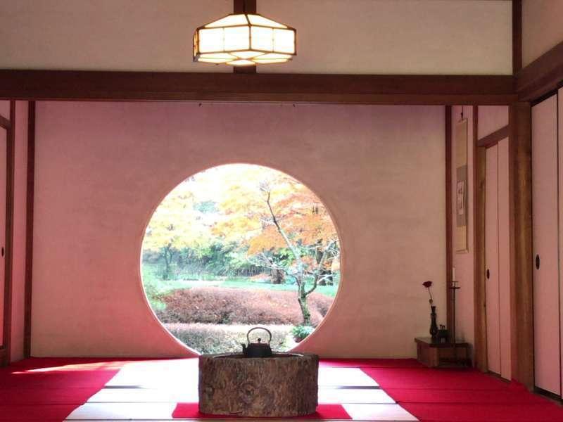 The iconic circular window at Meigetsuin Temple in Kita-Kamakura, Northern Kamakura Area