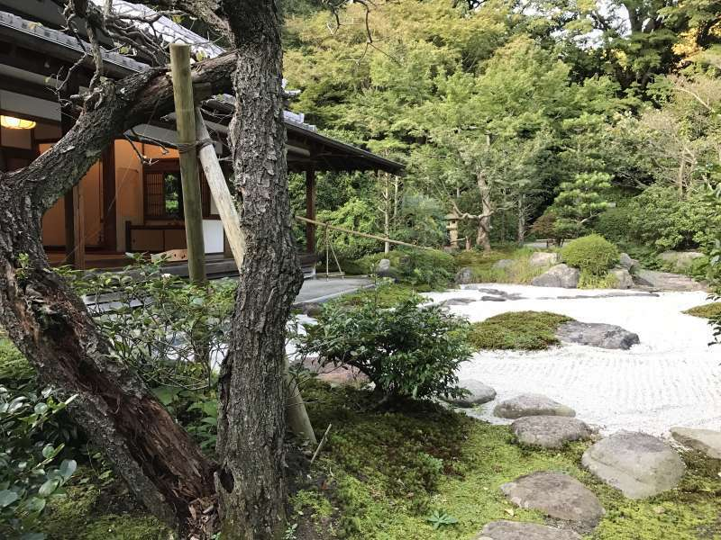 A dry-style garden and a teahouse at Jomyoji Temple in Eastern Kamakura Area