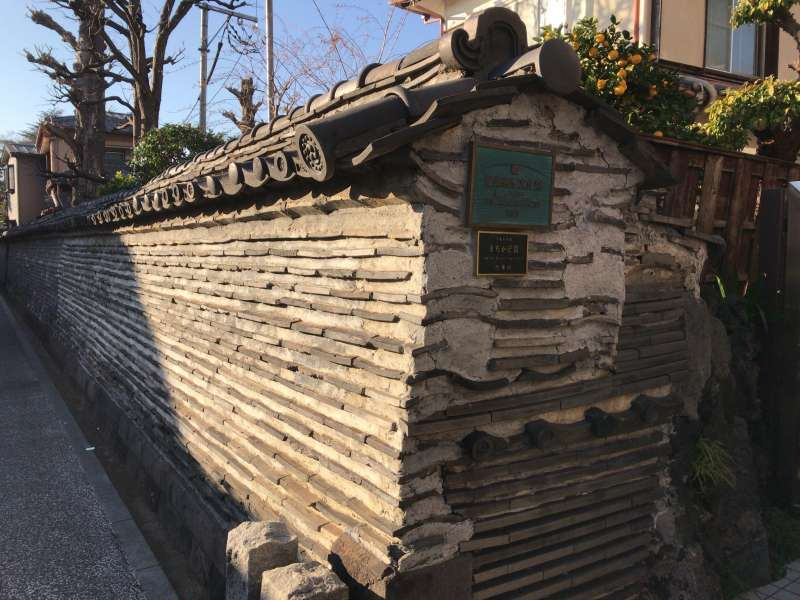 A traditional style wall at Yanaka in Ueno area