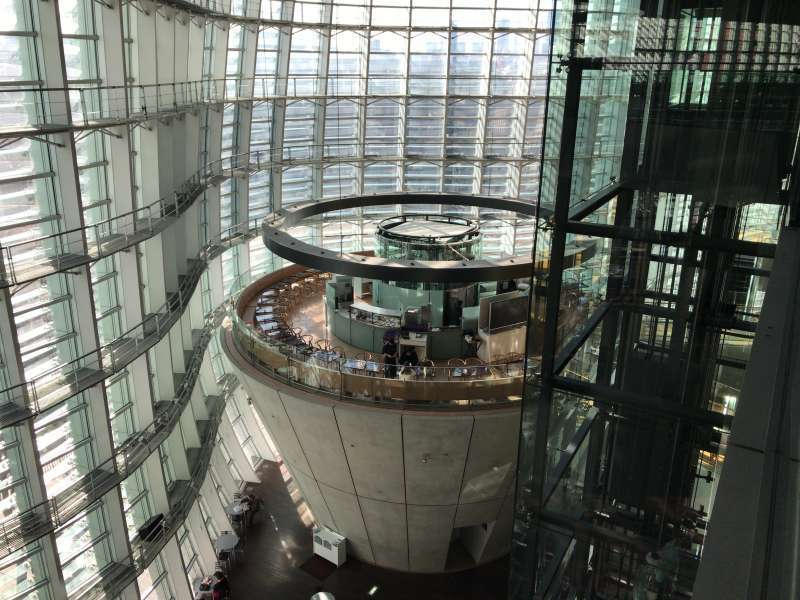 The atrium of the National Art Center, Tokyo in Roppongi area