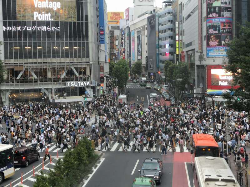 Shibuya Crossing, probably the busiest intersection in Japan, in Shibuya area