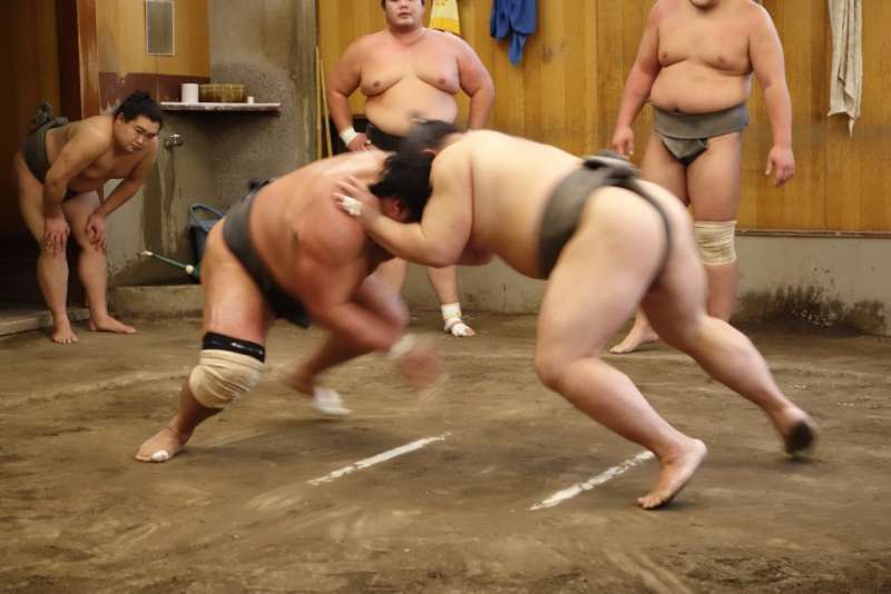 Sumo Wrestlers Morning Training Watch