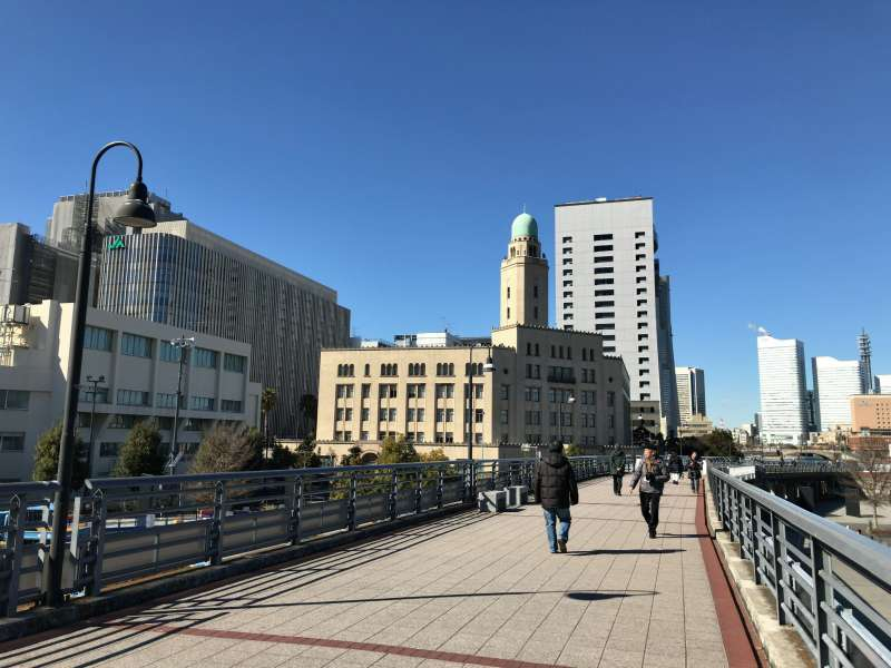 Yamashita Rinko Line Promenade used to be an elevated railway, with Queen's Tower - Yokohama Customs building - nearby, in Kannai area