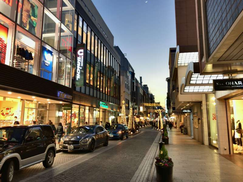 Motomachi Shopping Street lined with refined shops, in Motomachi area