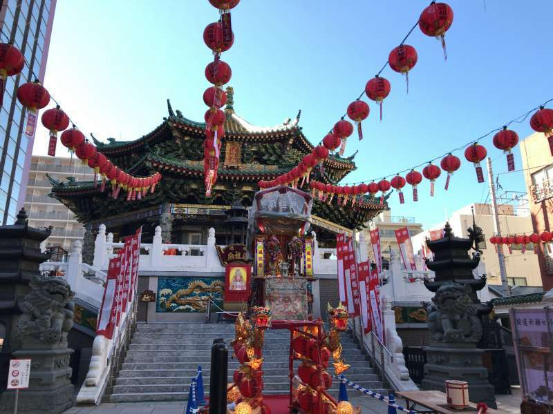 Yokohama Mazu temple enshrining the Chinese sea goddess Mazu, in Yokohama Chinatown
