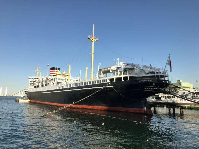 NYK Hikawa Maru Memorial Ship, a Japanese ocean liner nicknamed The Queen of the Pacific, anchored in Yamashita-koen Park