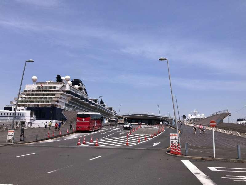 Osanbashi International Passenger Terminal, extending into the Port of Yokohama, in Yamashita-koen Park area
