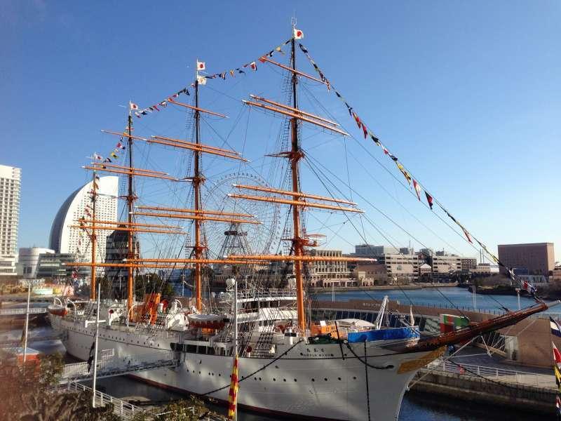 Sail Training Ship Nippon Maru, docked in Yokohama Minato Mirai 21 Central area