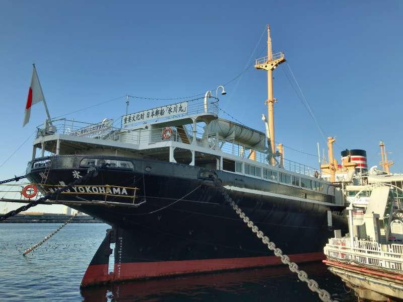 NYK Hikawa Maru Memorial Ship, a Japanese ocean liner nicknamed The Queen of the Pacific, anchored in Yokohama Yamashita-koen Park