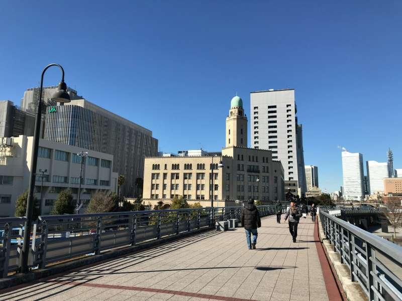 Yamashita Rinko Line Promenade used to be an elevated railway, with Queen's Tower - Yokohama Customs building - nearby, in Yokohama Kannai area