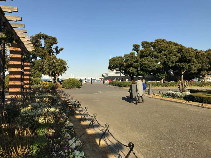 Yamashita-koen Park, stretching for two-thirds of a mile along the waterfront in Yokohama