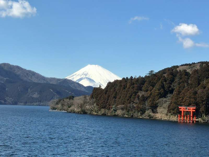 A picturesque view of Mt. Fuji, Lake Ashi and neighboring mountains, from a Pirate Ship