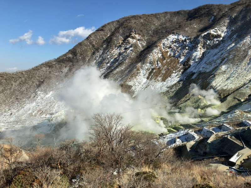 Owakudani, or Great Boiling Valley smoking furiously