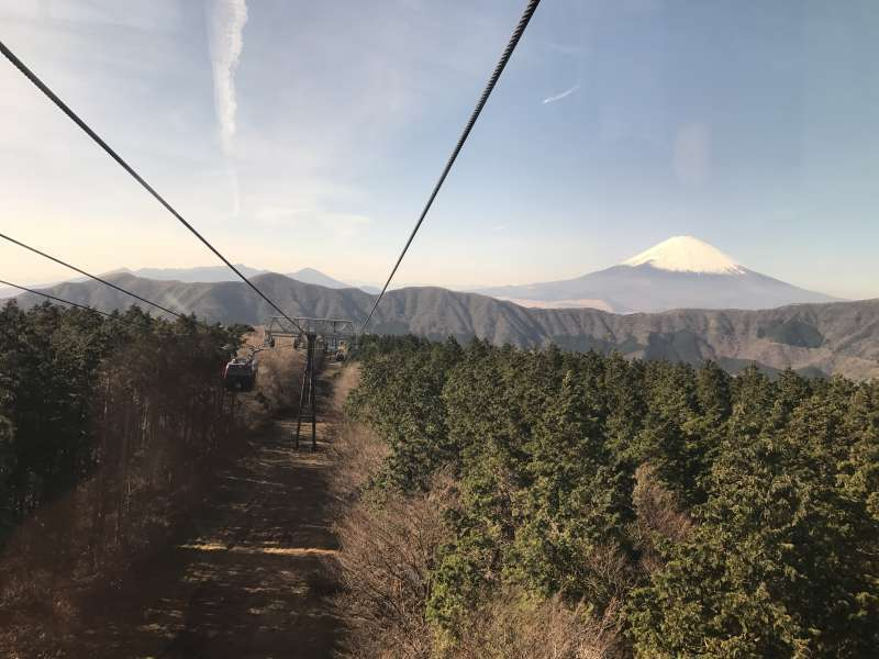 A dynamic view from a ropeway ascending from Togendai to Owakudani