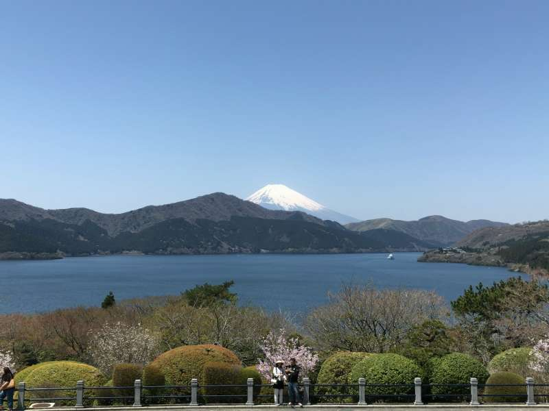 A view from the second floor balcony at the Lakeside Observation Building in Onshi-Hakone Park