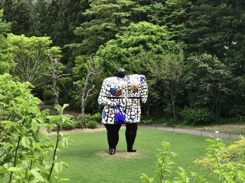 A representative work, Miss Black Power, designed by a French artist, Niki de Saint Phalle, in the Hakone Open-Air Museum.