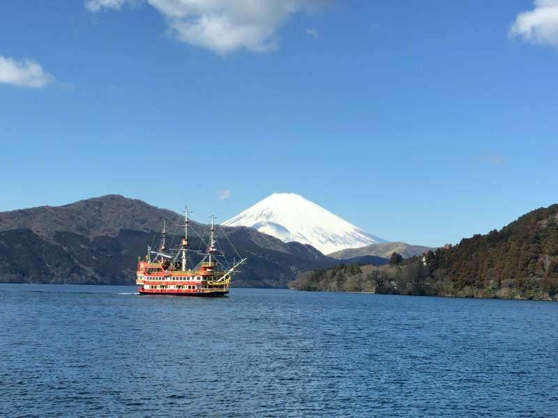 The Royal II, a Pirate Ship cruising on Lake Ashi, with magnificent Mt.Fuji behind