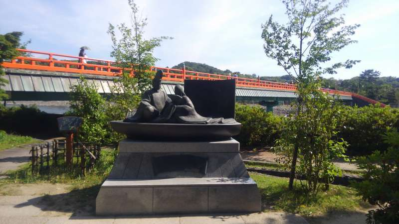 The Tale of Genji statue and Asagiri bridge