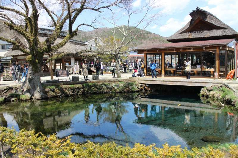 Oshino Hakkai.  There are eight ponds formed by springs. The eight ponds are fed by snow melt from the slopes of Mt. Fuji that filters down the mountian through porous layers of lava for over 80 years.