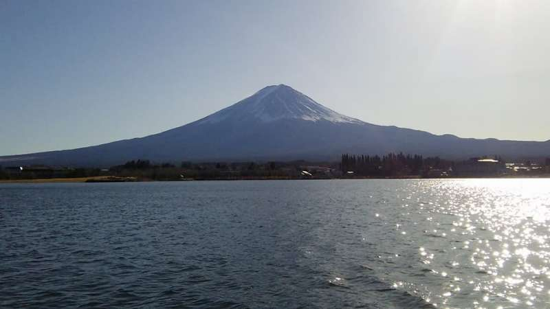 Mt. Fuji from the cruise boat on Lake Kawaguchiko. You can enjoy Mt. Fuji from various directions.