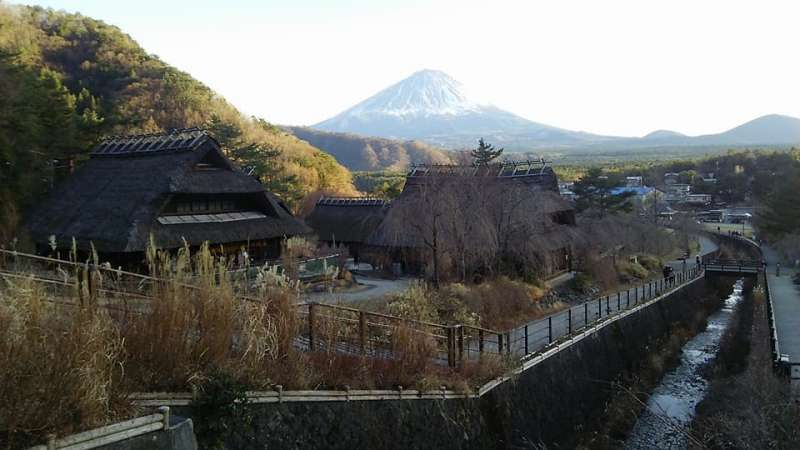 Mt. Fuji from Iyashi no Sato Nenba. There are many traditional Japanese farmers' houses with thatched roofs restored in this place. You can walk there with rental Japanese kimono or ninja wear!
