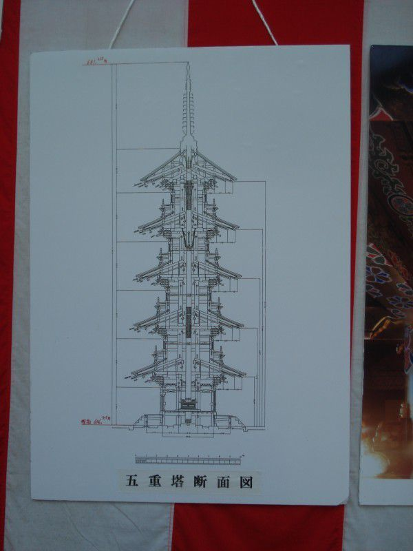 Five story pagoda  (the centre pillar is hanging from the fourth floor)