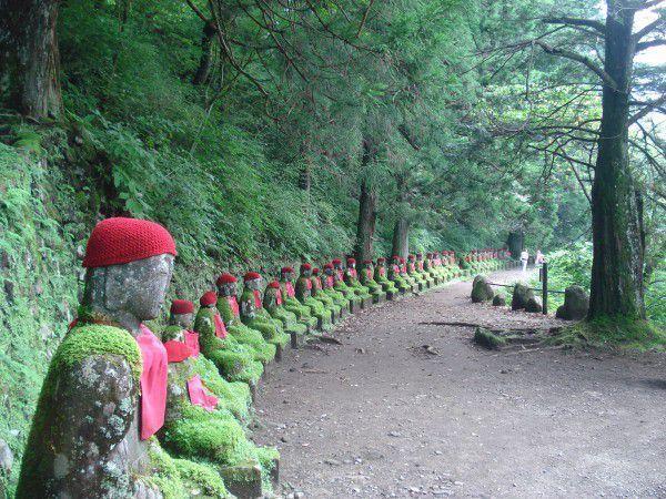 Kanmangafuchi Abbey.  Along Daiya river, you can enjoy walking among stone statues covered by moss.