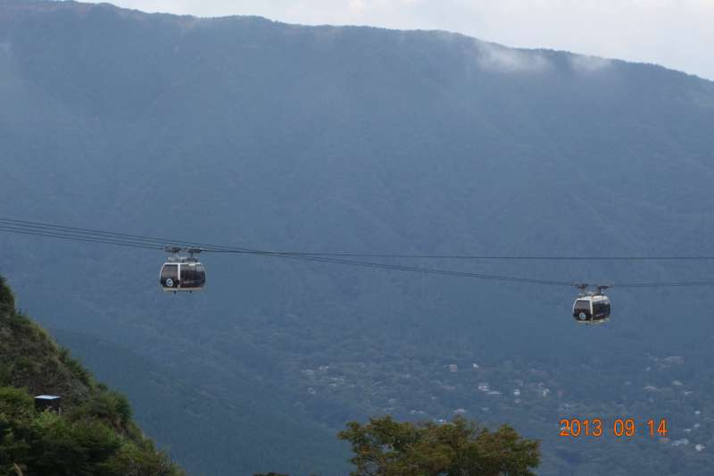 Cable car over Owaku-dani Valley