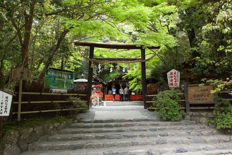 The torii gate to Nonomiya Shrine