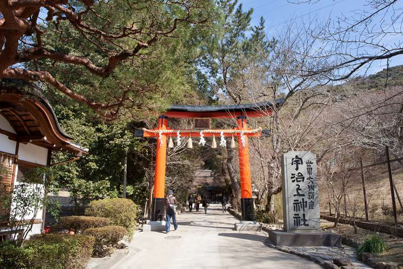 The torii gate to Ujigami Shrine, a World Heritage site