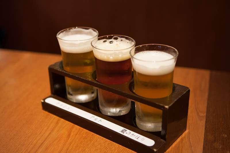 Beer tasting set at Kizakura Kappa Country