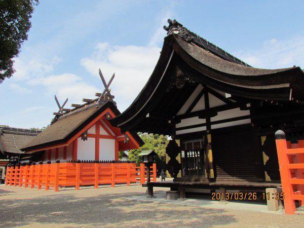 The second and the third main shrine at Sumiyoshi Grand Shrine