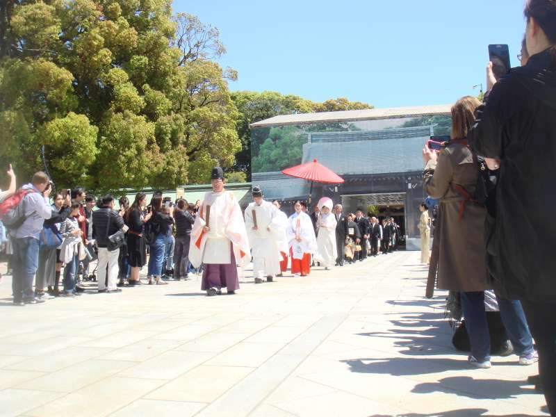If it is a lucky day, you can see the beautiful shinto style procession taking place in front of the main hall.