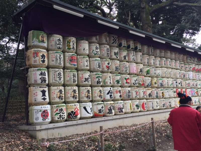 A lot of Sake barrels from different local areas of Japan are displayed to dedicate to Shinto Deity.  Emperor Meiji are said to love French red wines as well as Japanese sake.