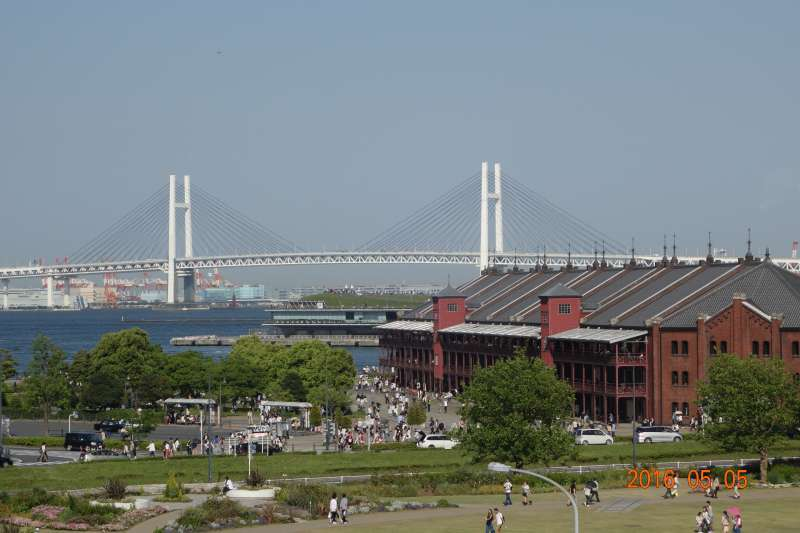 Nice view of Yokohama Bay Bridge and Red brick warehouse