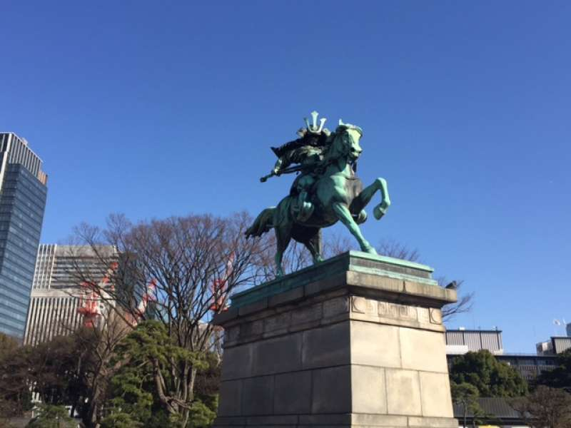 Brave samurai warrior on the horse, Kusunoki Masashige, faithful member of the Emperor Godaigo, in the 14th century.