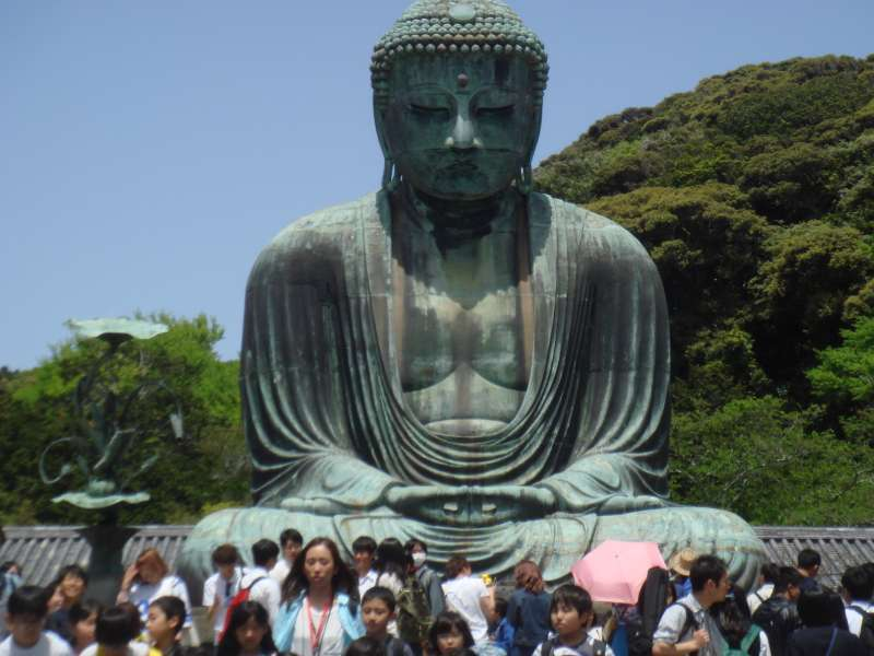 The great Buddha statue in Kotokuin temple made of 120 ton bronze casting.  It is famous statue along with Nara Todaiji Buddha.