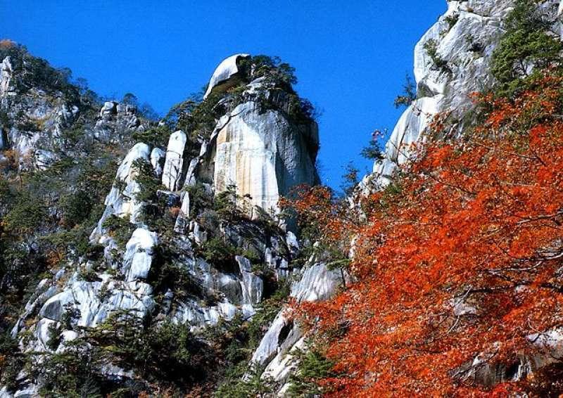 Strangely shaped rock in the Shosenkyo gorge.