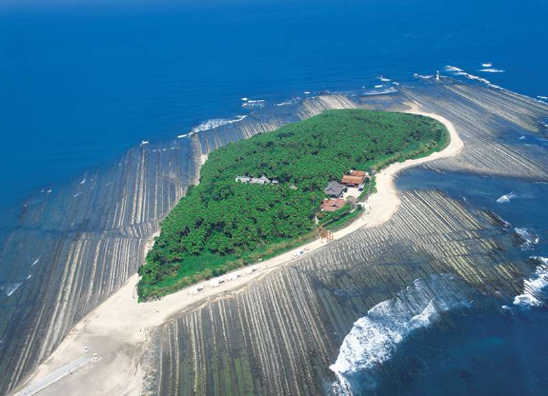 Aoshima shrine is located in a small island
