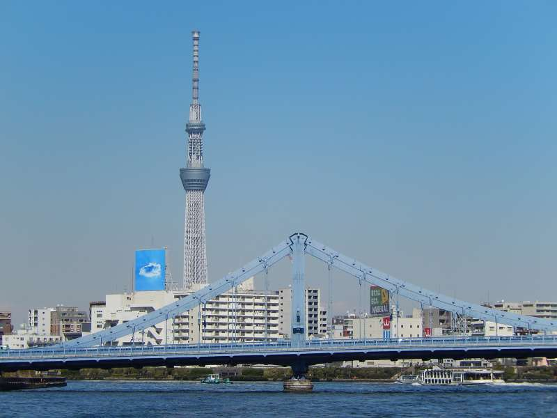 The Tokyo Sky-Tree seen from the Sumida river