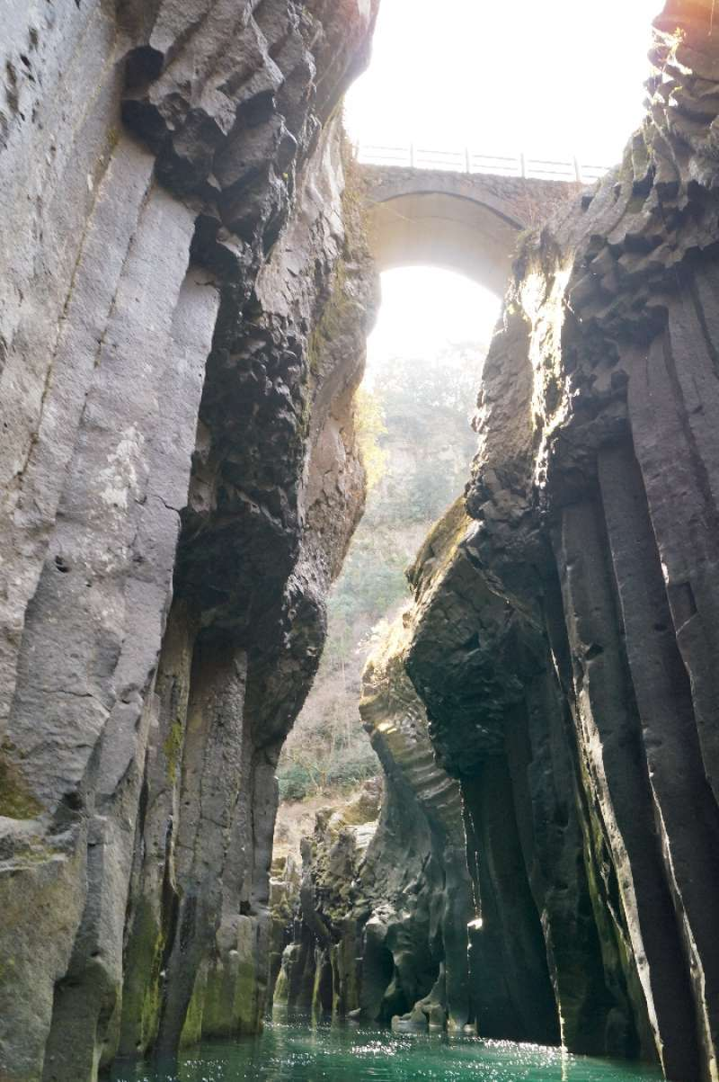 Takachiho gorge. The spectacular steep walls of the Takachiho Gorge were formed by columnar jointing.
